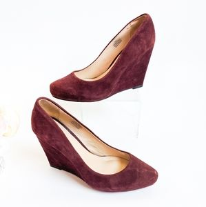 Halogen 'Allie' burgundy Leather Wedge Heel Size 8